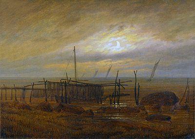 Seashore by Moonlight, Caspar David Friedrich, 1835–1836