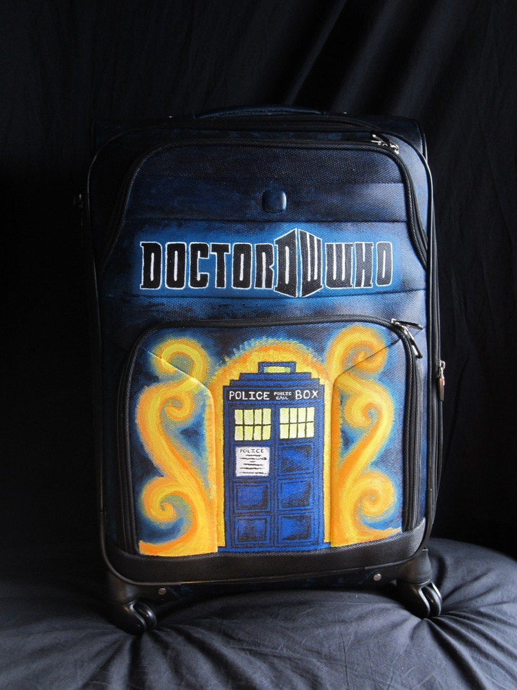 """Hey so this is an art project I did earlier this year. The suitcase was a present from my lovely grandparents and they told me to do some of my """"art stuff"""" on it so… here's what came of that. Hope you like it. Painted free hand with acrylic paint. Inspiration from Doctor Who  submitted bymagifay"""