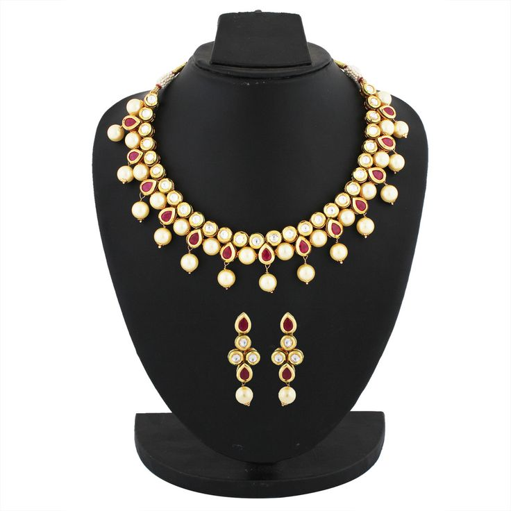 Fancy White::Red Colored Gold Plated Kundan Necklace Set
