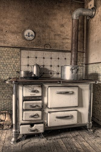Very Old Wood Stove - gramma's fresh-baked bread....