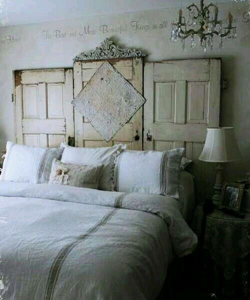Recycled old doors headboard.