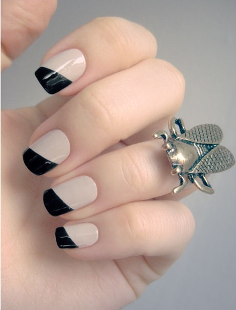 DIY Black & Nude Angled French Manicure ♥