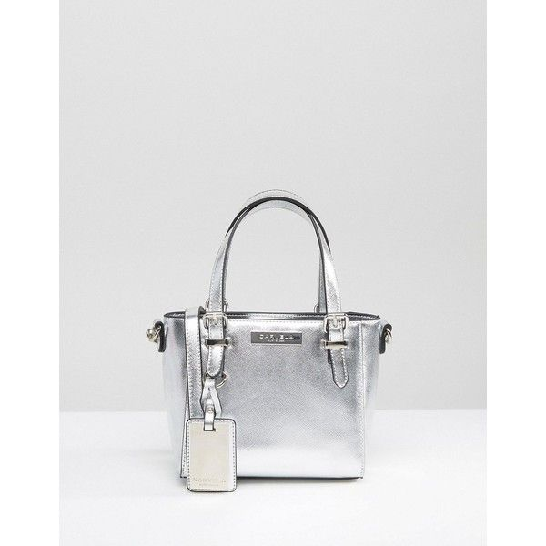 Carvela Micro Din Tote Bag (£38) ❤ liked on Polyvore featuring bags, handbags, tote bags, silver, metallic leather tote, leather tote purse, leather tote, genuine leather tote and metallic tote bag