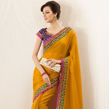 Dark Mustard Art Jute #Silk #Saree with Blouse