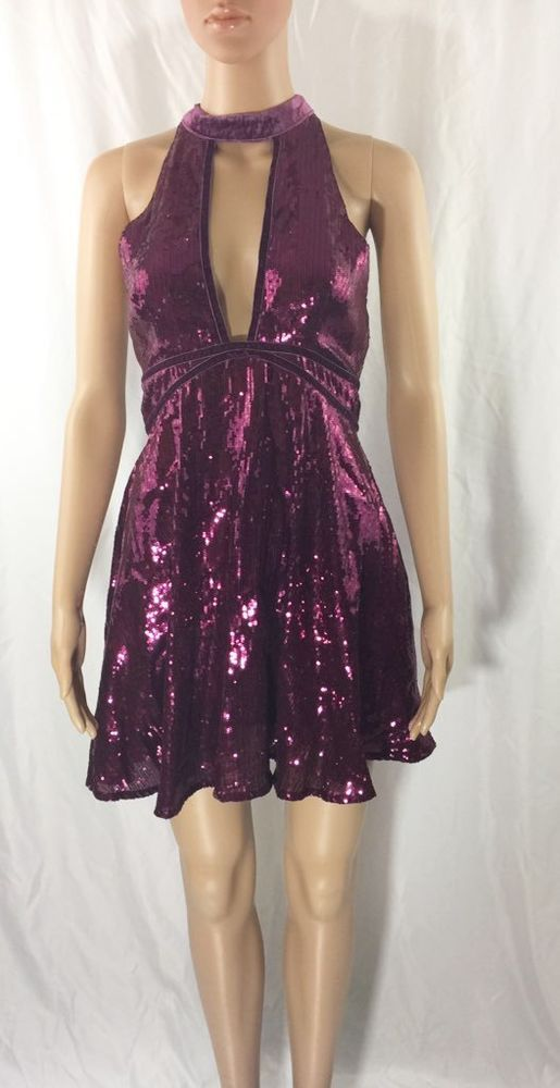 Free People Womens Noir Film Sequin Mini Dress Size 4 #FreePeople #Sheath #Cocktail