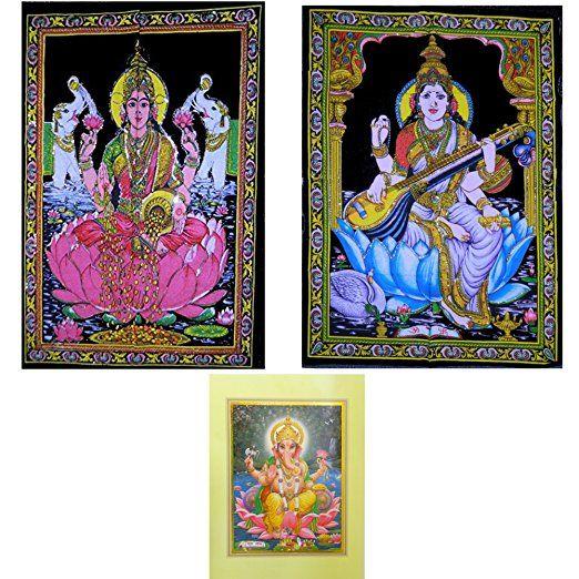 TELI DECORATIVI per parete in cotone motivo Saraswati / Lakshmi con paillettes - in regalo POSTER divinità indiana Ganesha