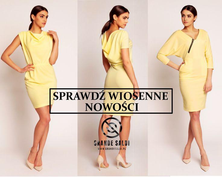 Piękne żółte sukienki, w sam raz na wiosnę www.grandesaldi.pl