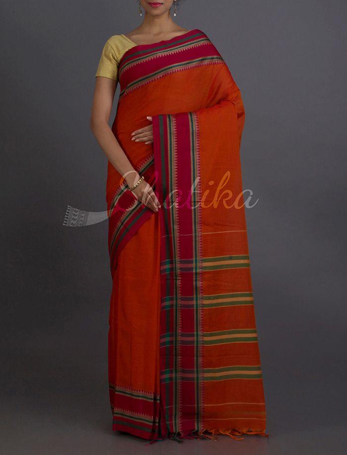 Savita Earthen Hues Stripe Beauty #NarayanpetPureCottonSaree