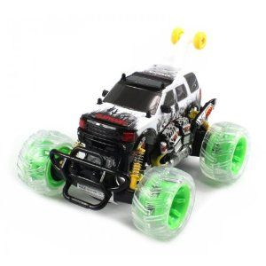 """Range Rover Electric RC Truck 1:20 360° Stunt Rolling RTR (Colors May Vary) Performs Stunts by Velocity Toys. $33.95. Features:  Electric Powered (Rechargeable)  Full Function! (Go Forward and Backward, Turn Left and Right)  1:20 Scale. Length: 8""""  Width: 6.5""""  Height: 4.6"""". Perform 360 Degree Rotation and Stunt Rolls!   High Gloss Paint Job  Dances with a Press of a Button. Working Spring Suspension!  Green Rims with Colorful Light Up Wheels  Plays Music!. Package Includes:..."""