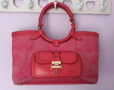 JIMMY CHOO PINK LEATHER & STRAW HAND/ SHOULDER BAG - Whispers Dress Agency - Shoulder Bags - £100