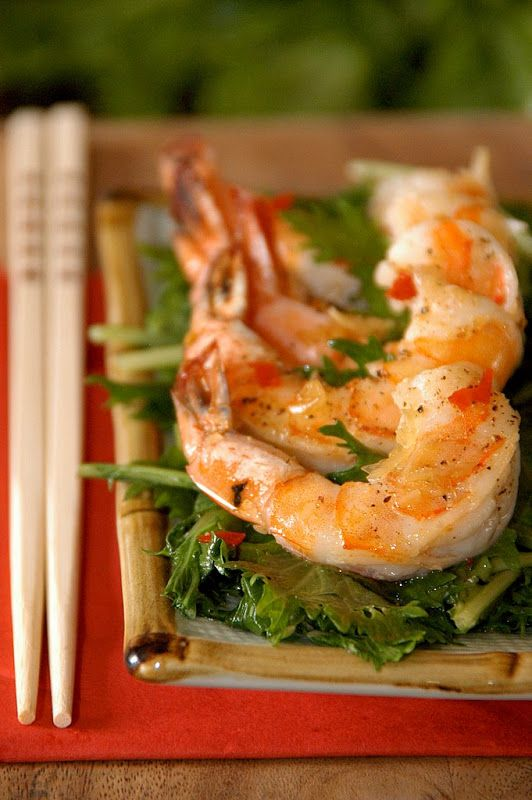 Grilled Shrimp & Japanese Mizuna Mustard Green Salad Recipe