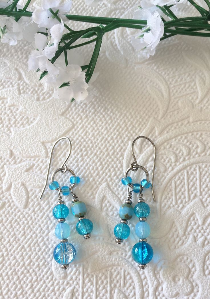 Blue dangle earrings, boho style, with stainless steel