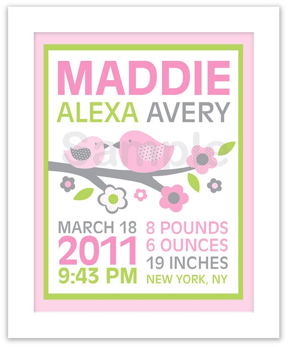 $8- so cute!: Baby Girl Room, Subway Art, Nursery Wall Art, Baby Birth Announcement, Pink Baby, Birth Announcements