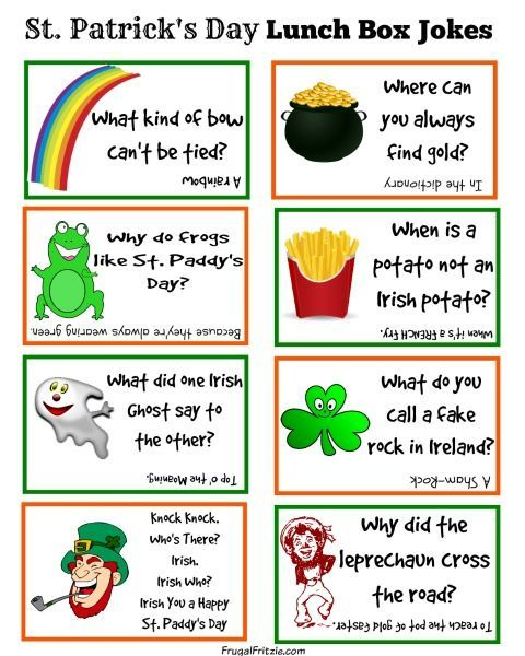 Free Printable St. Patrick's Day Kids Lunch Box Jokes - a set of fun kids jokes for St. Patrick's Day, print on cardstock and add them to their lunch box.