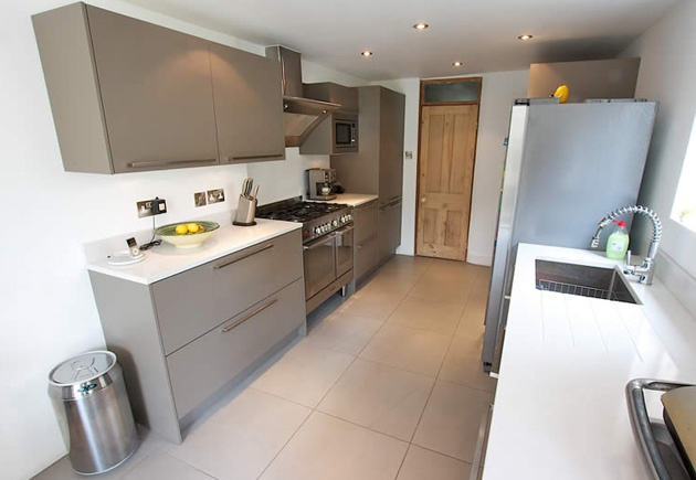 Beige Grey Satin Lacquer Kitchen By Lwk Kitchens Complete With Stainless Steel Colour Plinth