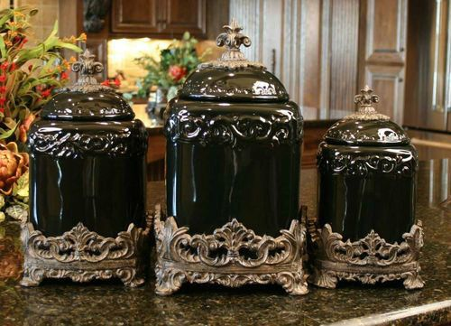 Black Onyx Drake Design Canister Set Kitchen Tuscan Ceramic Fleur De Lis Large Ceramics