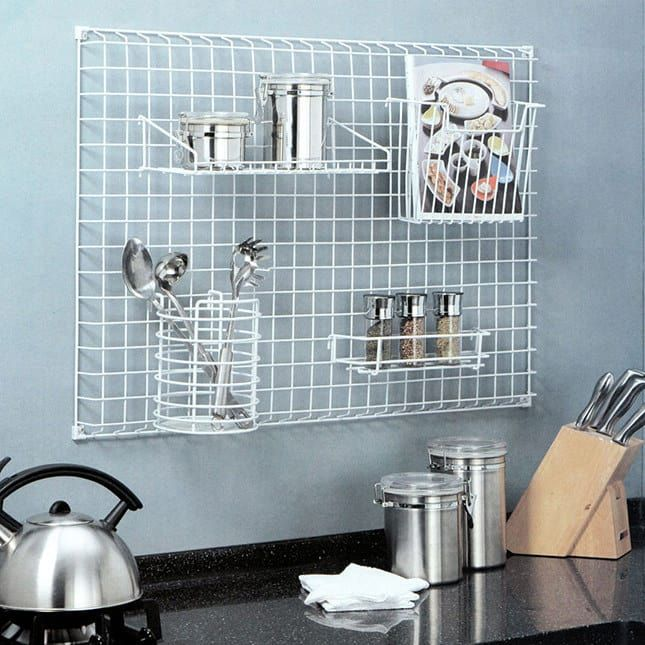 This is a slightly different take on a more classic pegboard, but you can choose all different kinds of attachments to really get the most out of vertical storage. This pictured version is sold out, but you can find something similar here.