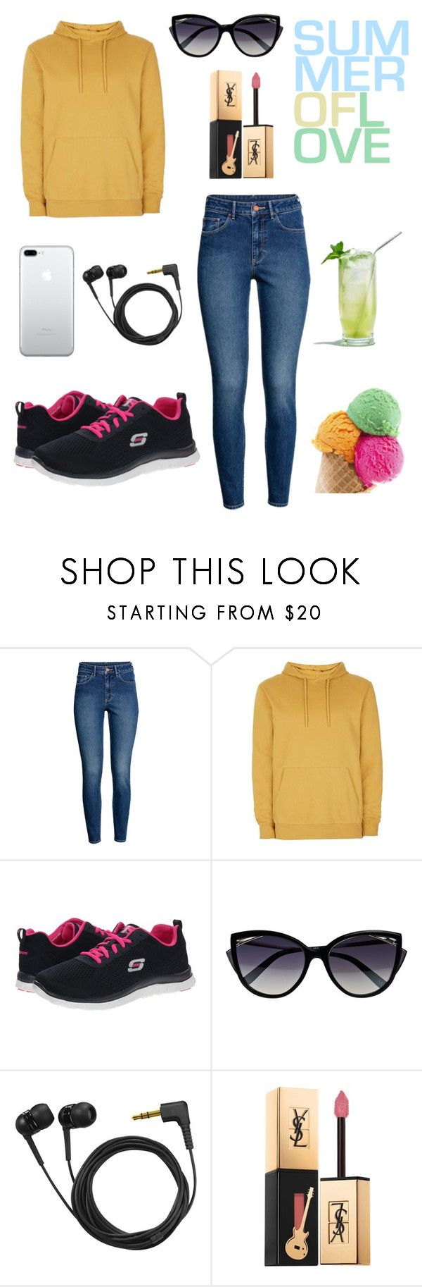 """""""Summer of Love (Bank Holiday Weekend in August)"""" by magic-mia ❤ liked on Polyvore featuring beauty, Skechers, La Perla, Sennheiser and Yves Saint Laurent"""