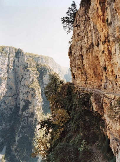 VISIT GREECE| The ten-mile-long Vikos Gorge, one of Europe's largest, is tough to tackle on foot, but the Vikos Balcony, on Pindos is an ideal vantage point from above. #Pindos #Epirus #Greece #Vikos