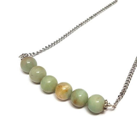 Amazonite Bar Necklace-Stainless Steel Chain-18 inch-Fashion