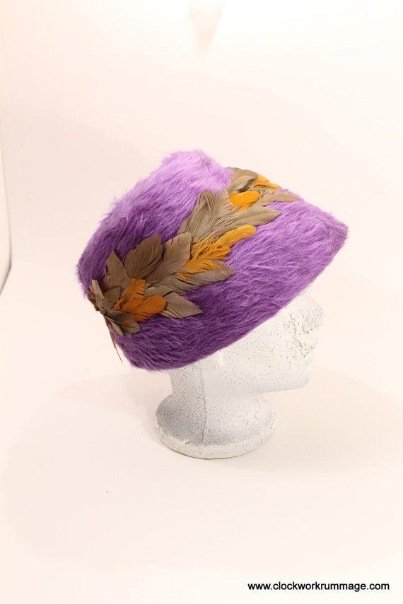 Vintage Purple Feather Hat Women's Vintage Hat by ClockworkRummage, $25.00