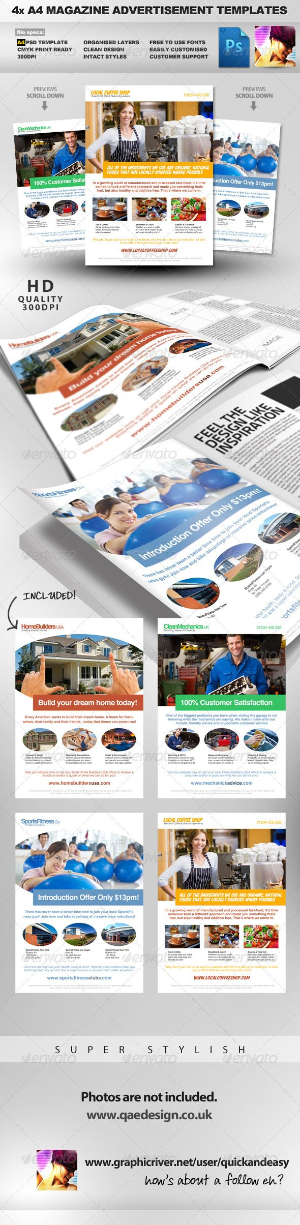 4x Clean Magazine Advertisement Templates by quickandeasy 4xCLEAN , CRISPAND HIGHLY EDITABLE A4 PSD MAGAZINE AD TEMPLATES A clean, crisp, highly editable A4 multiusePSDMagazine Ad Templ