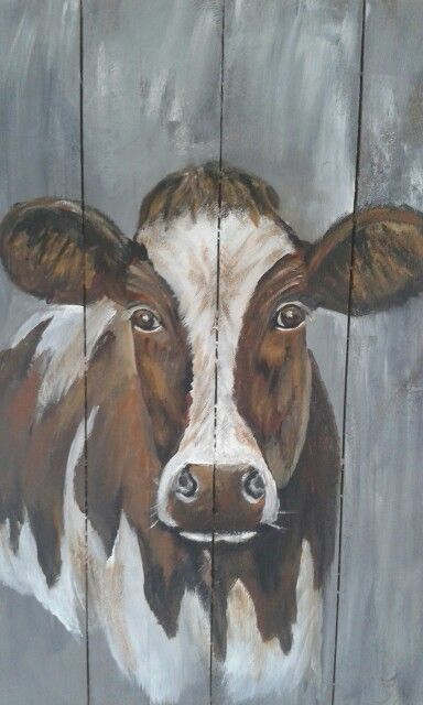 Cow Painting On Wood