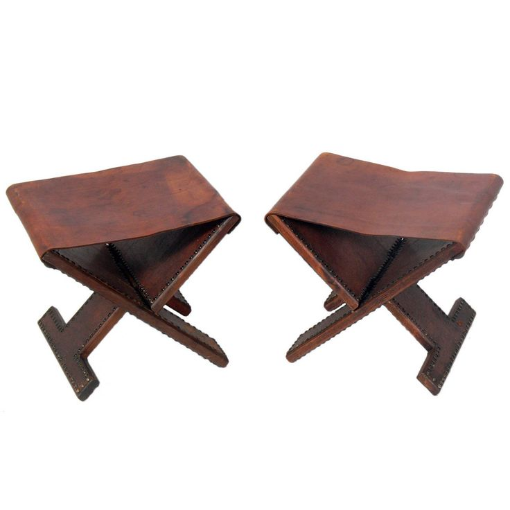 Pair Of Brass Studded Leather Folding Stools Great Ideas