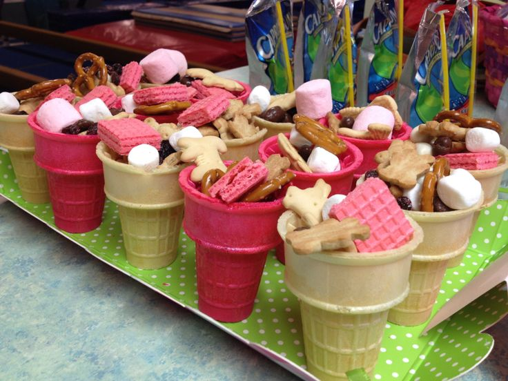 Party san at 3yo birthday - trail mix of marshmallows, animal crackers, yoghurt raisins, pretzels, pink wafers and teddy Graham's in a ice cream cone