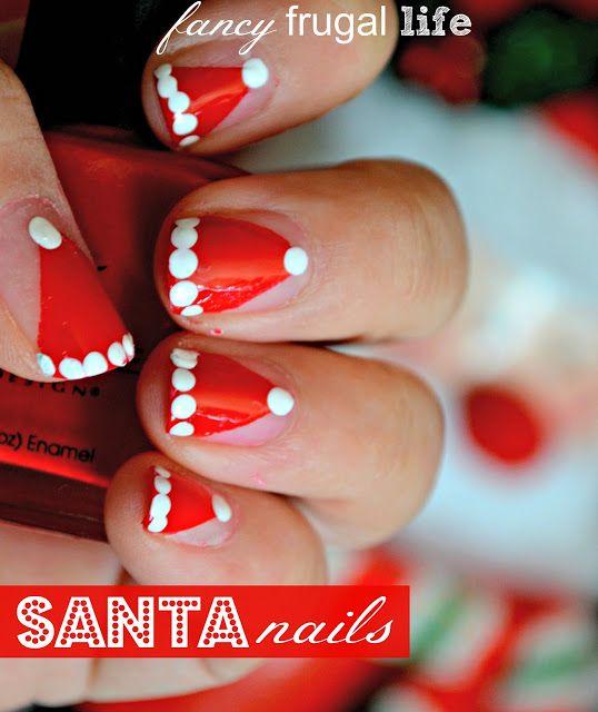 Fancy Frugal Life: DIY Santa Hat Nail Art