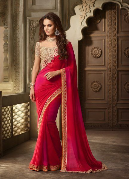 Designer Red Pedding Georgette Saree With Bangalori Silk and Net Blouse With Fabric