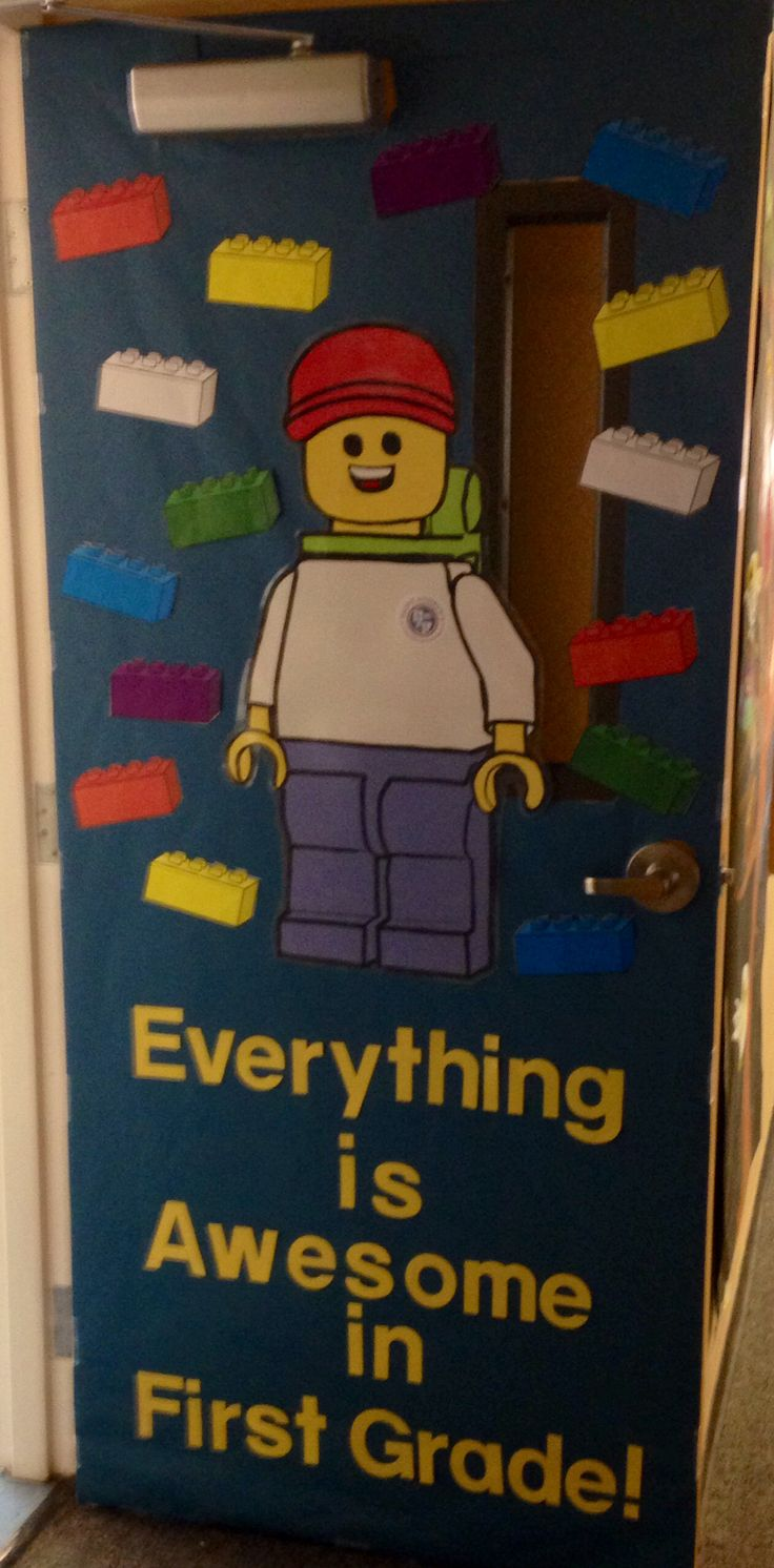 Lego movie inspired door/bulletin board. Because everything is awesome with Legos!