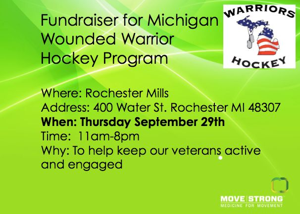 Help keep our Veterans active and engaged! Please consider supporting a fundraiser for the Michigan Wounded Warrior Hockey Program, this Thursday, September 29th at Rochester Mills Beer Co.