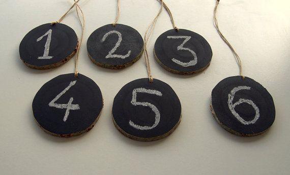 Set of 6Chalkboard Wood TagsWedding Table by PebblesAndWoods