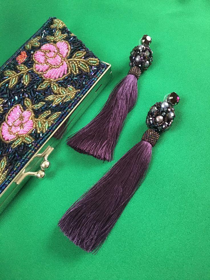 "Excited to share the latest addition to my #etsy shop: Bridal long silk tassel beaded earrings ""Baroque"" (blackberry) Darkpurple beaded brush earrings Oscar de La Renta style Wedding Jewelry"