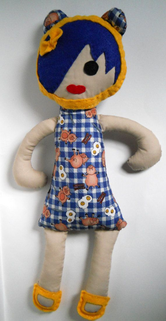 Fabric Doll Dressed for Breakfast Softie Stuffie by SoHipCrafts $26