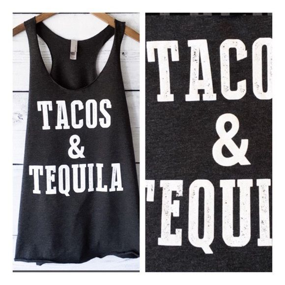 "• Tacos + Tequila • Adorable black graphic tank. Super comfy and stretchy, light and loose. Recommend going with your normal size. Add this item to a bundle when purchasing more than one item in my closet or ""buy"" to choose your size and checkout now.    🔸95% rayon, 5% spandex   ↓Follow me on Instagram ↓         @ love.jen.marie Jennifer's Chic Boutique Tops Tank Tops"