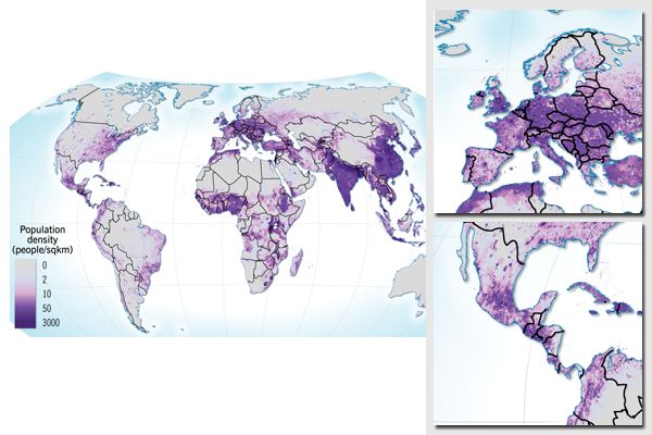 Map with world population density, prepared as background and discussion material for discussion at the Stockholm International Water Institute (SIWI).