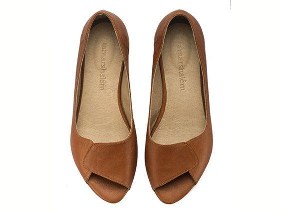Aya Peep Toes whiskey brown flat shoes brown flats by TamarShalem, $145.00