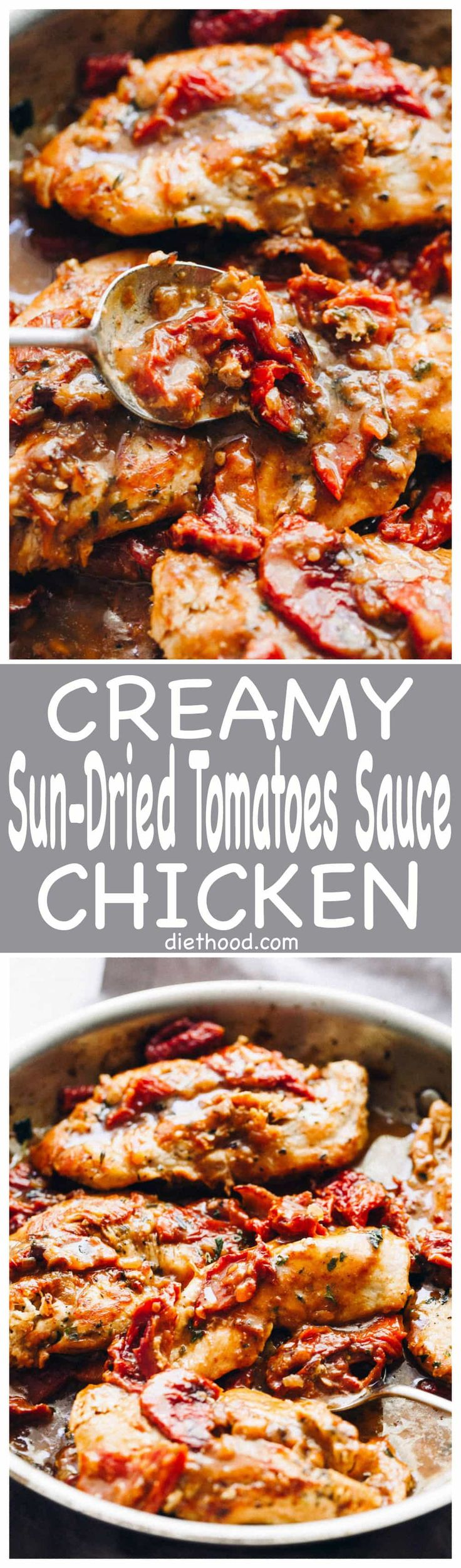 Creamy Sun-Dried Tomato Sauce Chicken: Quick, easy and delicious pan-seared chicken with an amazingly flavorful sun dried tomatoes sauce! It's a 30-minute, one pan meal that you can't resist!