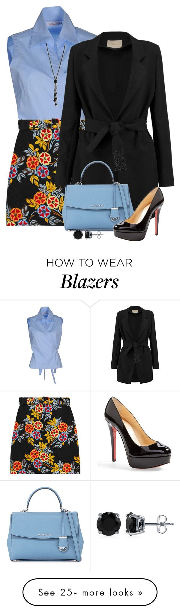 """Floral Skirt"" by derniers on Polyvore featuring MSGM, Maje, MICHAEL Michael Kors, Christian Louboutin and BERRICLE"