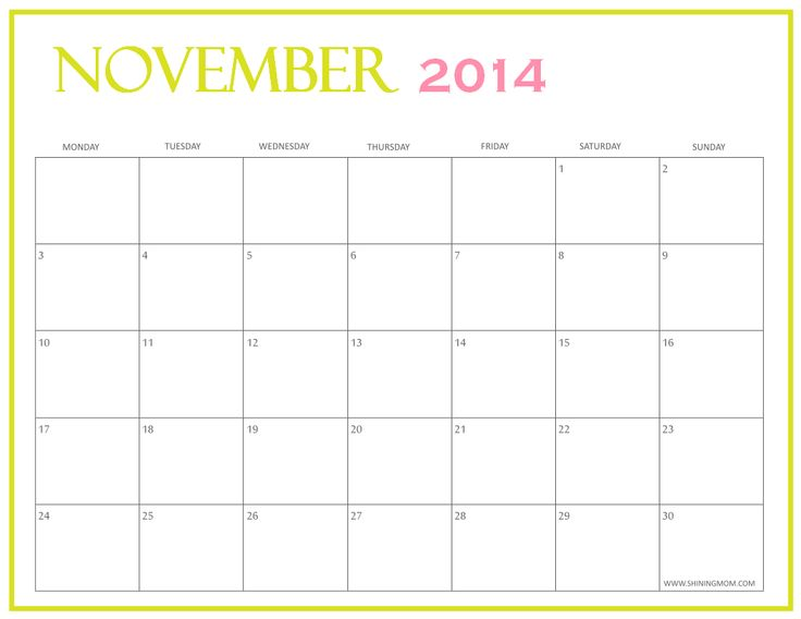 printable November 2014 calendar