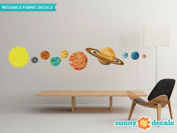 Solar System Fabric Wall Decals, Set Of 9 Planets And Sun - 2 Sizes Available - Non-Toxic, Reusable, Repositionable - Sunny Decals