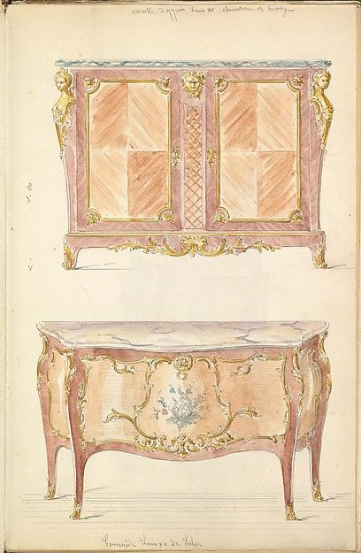 Two Period-style Designs for a Commode (Louis XIV and Louis XV)  Mewès and Davis (active London and Paris, from 1900)