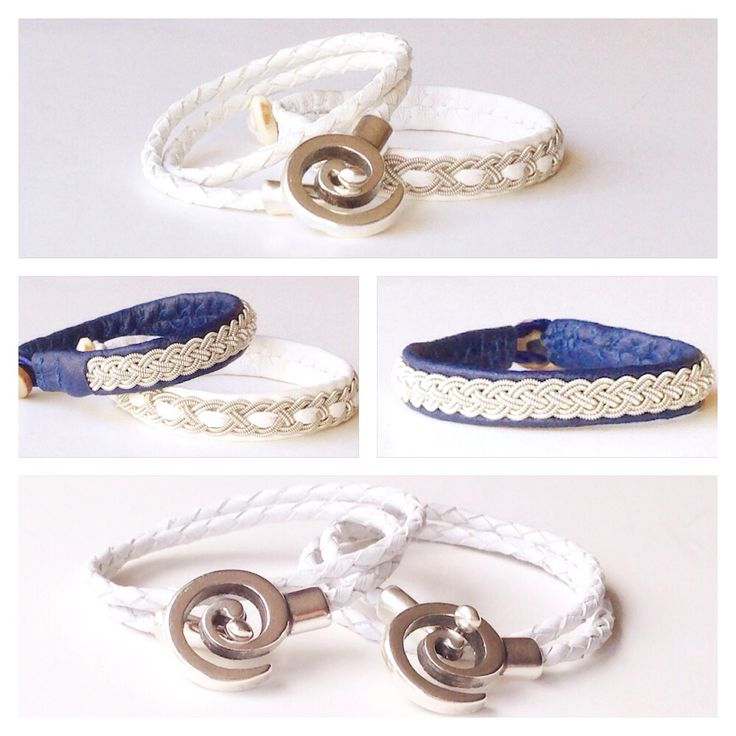 White and blue reindeer leather pewter/silver bracelets.
