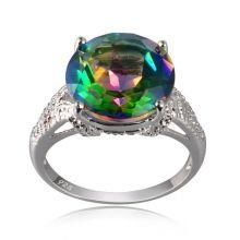 Amazing 12mm 5.7ct Fancy Rainbow Quartz  With Diamond Rhodium Over 925 Silver Ring