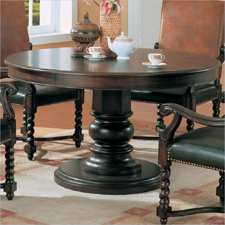 Coaster Riverside 54 Round Semi Formal Dining Table In Dark Wood Finish