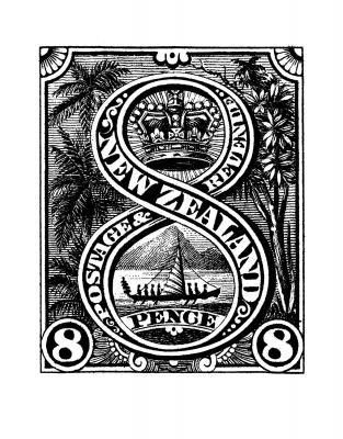 Mounted Print of Historical New Zealand Stamp