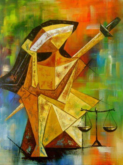 Quadro Deusa Justiça 60x80 Cod 606   KATIA ALMEIDA - PINTURAS EM TELAS   32AFB6 - Elo7