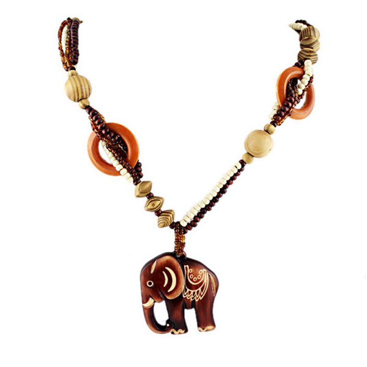 Wooden Elephant Necklace – Square Berry Co